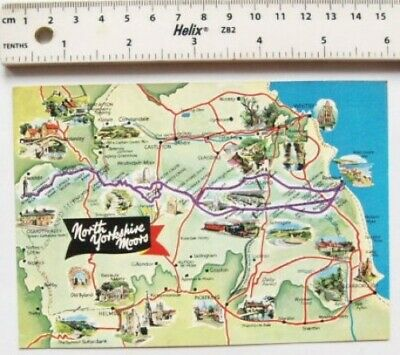 £2 • Buy Old Postcard Map Of North Yorkshire Moors
