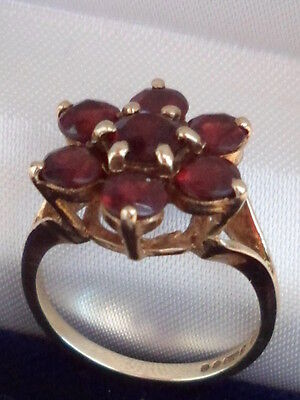 £139.99 • Buy 9ct Yellow Gold Garnet Flower Cocktail Or Dress Ring Size P