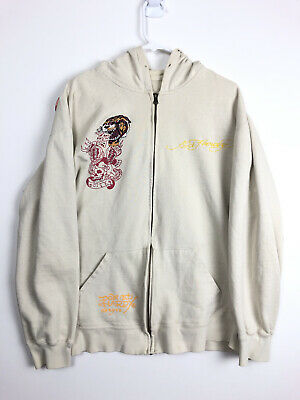 £42.49 • Buy A1 Vintage Ed Hardy By Christian Audigier Skull Cream Zip Hoodie Tiger Patch XL