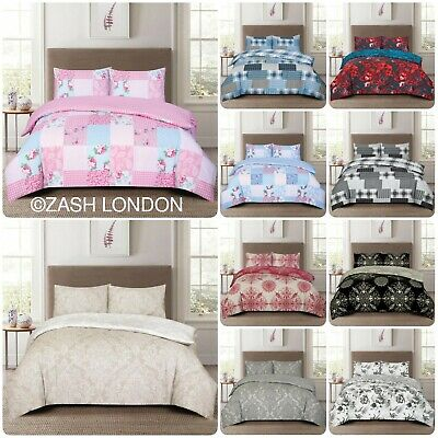 £20.99 • Buy 4 Piece Printed Duvet Quilt Cover Set With Fitted Sheet Bedding Set All Sizes