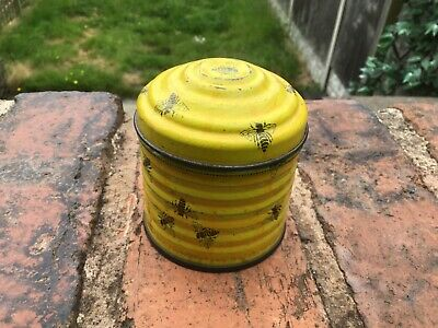 £8.50 • Buy Vintage Bee Hive Tin. Yellow With Honey Bees.