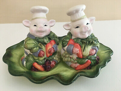 £11.59 • Buy Spring Collection By Corner Ruby Pig Chef Salt & Pepper Shakers