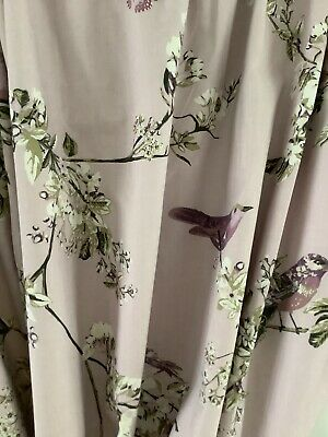 """£9.99 • Buy Dunelm Mill Lined Curtains In Lilac With Birds W 52"""" X L 63""""VGC"""