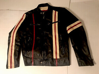 $125 • Buy Wilsons Leather M Julian Black With Red Stripes Cafe Racer Jacket- Size Medium