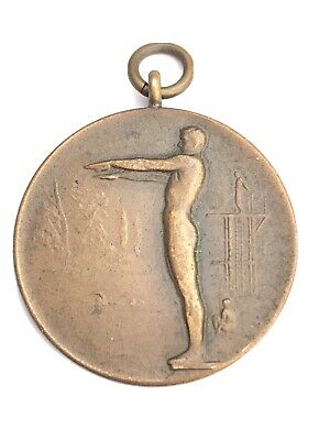 £4 • Buy Vintage 1930s Bronze Diving Medal Possibly By John Pinches