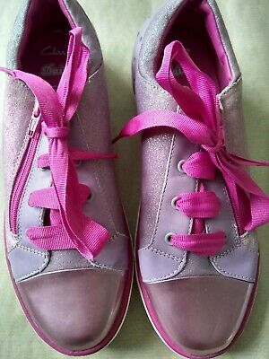 £3.99 • Buy Clarks Girls Daisy Trainers Lilac And Pink Size 4F