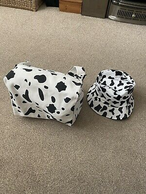 £7.50 • Buy Shein Cow Print Bag With Cow Print Bucket Hat Reversible Bnwt