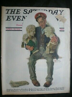 $ CDN48.50 • Buy Saturday Evening Post  Apr 18,1931 Norman Rockwell  Delivering 2 Busts  Complete