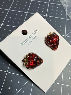 $ CDN50.34 • Buy Authentic Kate Spade Summer Picnic Perfect Strawberry Resin Stud Earrings Red