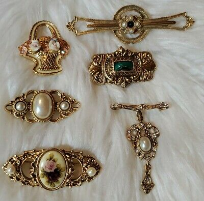 $ CDN15.56 • Buy VINTAGE 1928 JEWELRY CO Lot Of 6 Rhinestone Faux-Pearl Golden Pins BROOCHES