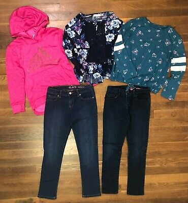 AU23.61 • Buy Lot Of 5 Girls Clothes Size 7/8 Small Adidas Childrens Place Jeans Old Navy Top