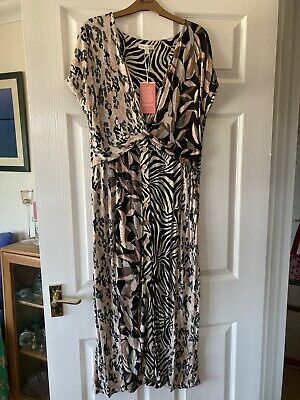 £13 • Buy Monsoon L Button Through Animal Print Summer Dress With Twist Front
