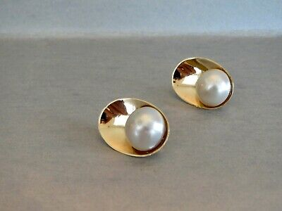 $595 • Buy Contemporary 14K YELLOW GOLD & MABE' PEARL Sculpted EARRINGS Omega Back Clip.75