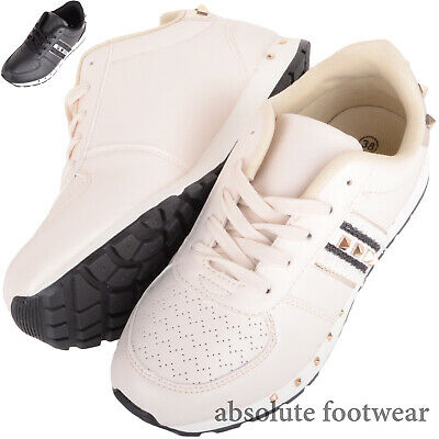 $ CDN34.29 • Buy Ladies Womens Lace Up Faux Leather Studded Casual Lesiure Sports Trainers Shoes