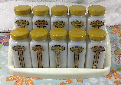 $49.99 • Buy Griffith's Kitchen Spice Rack With 10 White Milk Glass Jars Yellow Lids Vintage