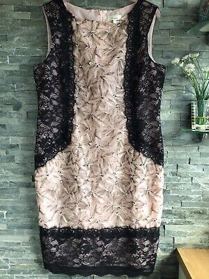 AU9.21 • Buy Linea Pink & Black Lace Sleeveless Dress Size 14 Wedding/Special Occasion