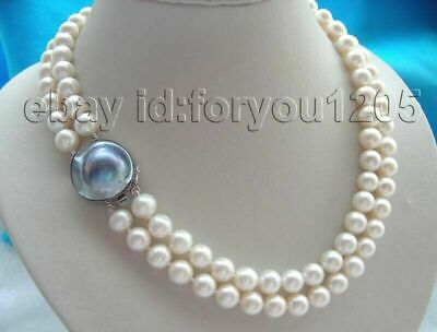 $122.39 • Buy 19  Double Natural 10mm White Round Pearl Necklace Mabe 925silver Clasp #f360!