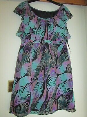 £1.99 • Buy Ladies Green/purple Peacock Feather Design Dress From Dorothy Perkins Size 16