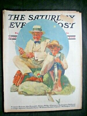 $ CDN48.50 • Buy Saturday Evening Post Aug 3,1929  Catching The Big One  Norman Rockwell Complete