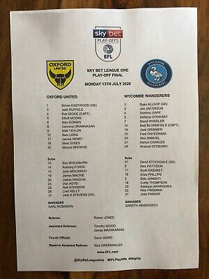 £2 • Buy Oxford United V Wycombe - Play Off Final - Official A4 Team Sheet - 13/07/2020