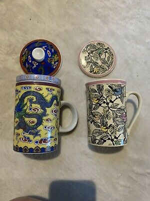 £21.72 • Buy Yellow Dragon Ceramic Porcelain Tea Cup Coffee Mug With Infuser Lot Of 2