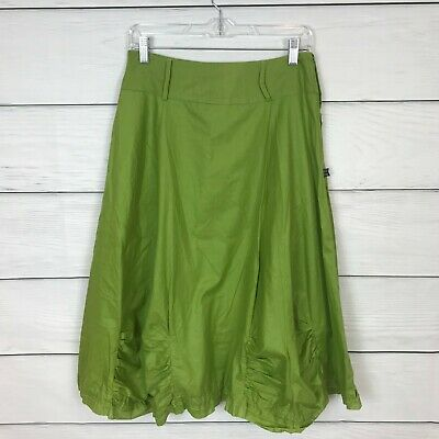 £3.54 • Buy ART Ateliers Toggery Green A Line Skirt Lagenlook Size Small S 6 Ruffle Knee