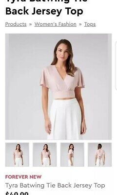 AU40 • Buy FOREVER NEW EUC Size XS/6 Blush Pink Tara Batwing Tie Front Top