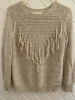 AU17.50 • Buy Staring At Stars By Urban Outfitters Oatmeal Boho Fringe Knit Sweater Jumper M