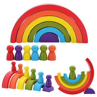 £5.99 • Buy Rainbow Building Stacking Wooden Blocks Baby Toddler Educational Montessori Toy