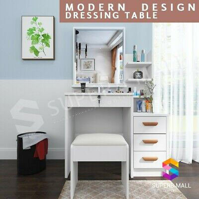 AU149.79 • Buy Dressing Table 4 Drawers & Stool Mirror Makeup Table Cabinet Storage Desk White