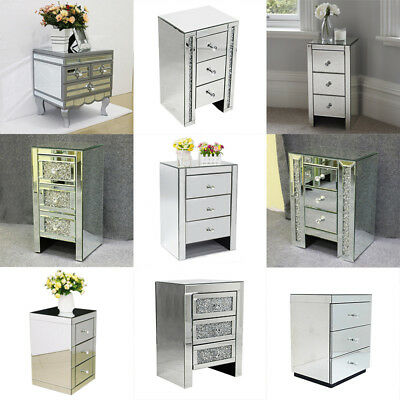 £128.99 • Buy Mirrored Sparkly Bedside Table Modern 3 Drawers Storage Cabinet Nightstand