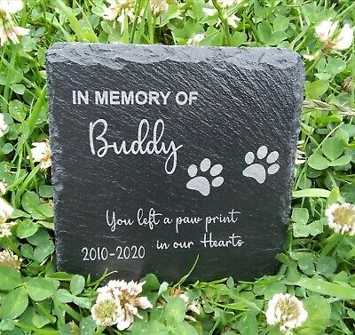£5.99 • Buy Memorial Plaque For Pet Cat Dog Slate Stone Paw Grave Marker Personalised  Gift
