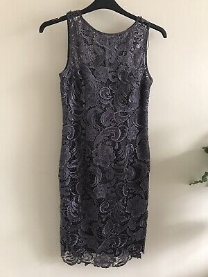 £10 • Buy Adrianna Papell Grey Lace Illusion Coctail  Party Dress Size 8