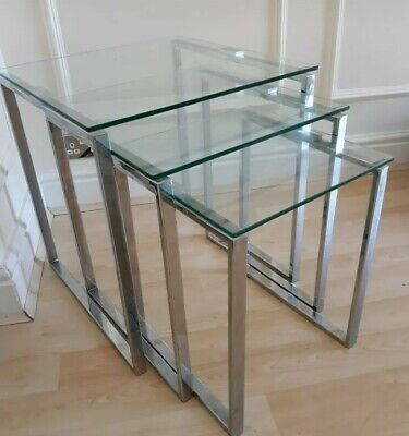 £39.50 • Buy Nest 3 Polished Chrome & Glass Contemporary Nest Of Tables