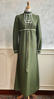 £44 • Buy Vintage Forest Green 1970's Ruffle Lace Collar Edwardian Victorian Maxi Dress S