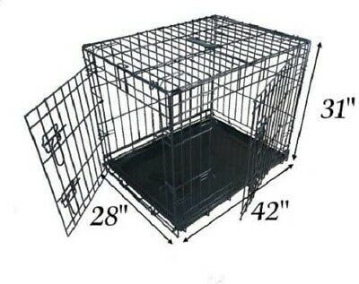 £55.99 • Buy Ellie-Bo Dog Puppy Cage, Extra Large 42 Inch, Folding 2 Door Crate,Non Chew Tray