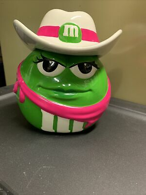 $9.50 • Buy Green M&m's Cowgirl Cookie Jar Green And Pink With White Cowboy Hat And Bandana