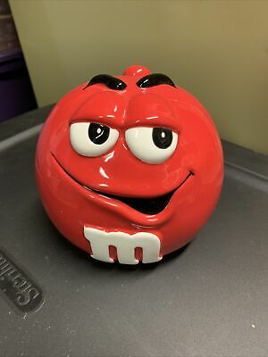 $4.25 • Buy M & M COLLECTIBLE RED COOKIE/CANDY JAR WITH LID Tinietreasures