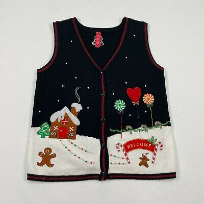 $15.81 • Buy Ugly Christmas Sweater Vest Black Size Large 12-14 With Pearls Ginger Bread