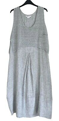 £49 • Buy Crea Concept Grey Linen Bubble Hem Dress With Knitted Over-Top Size 44 UK 14 16