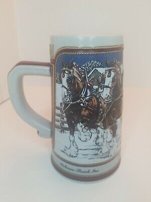 $ CDN24.35 • Buy 1989 Budweiser Holiday Beer Stein 8 Horse Hitched Clydesdale Team Collector Mug