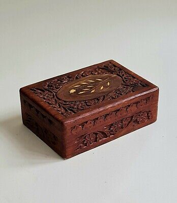 £14 • Buy Hand Carved Wooden Hinged Box With Shell Inlay Purple Lining