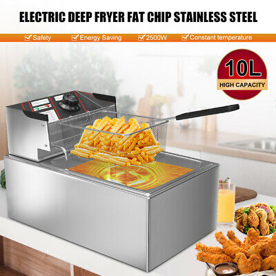 £31.99 • Buy 10L 2500W Electric Deep Fryer Commercial Stainless Steel Fry Fat Chip Kitchen UK