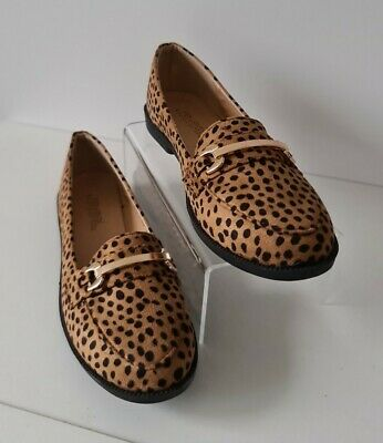 £14.99 • Buy Ladies Animal Leopard Print Shoes Dolly Ballerina Pumps Buckle Size 3