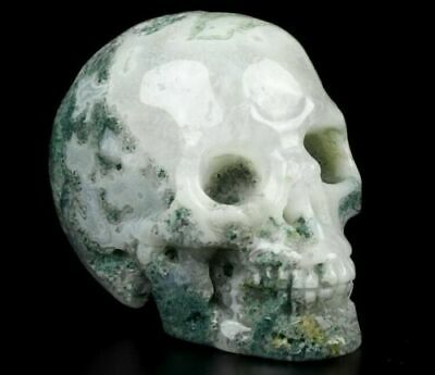 $19.99 • Buy 2.0 IN  Genuine GREEN MOSS AGATE Carved Crystal Skull, Realistic, Healing #1452
