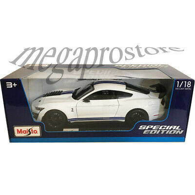 $23.77 • Buy Maisto 2020 Ford Shelby GT 500 Mustang 1:18 Diecast White With Blue Stipes