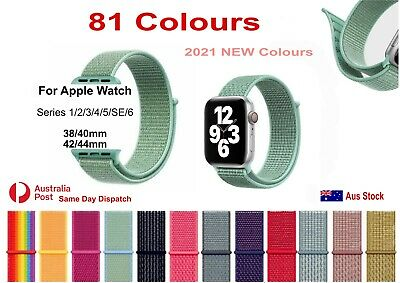 AU6.99 • Buy 81 Colours Nylon Sport Strap Band Loop For Apple Watch IWatch 38 40 42 44mm