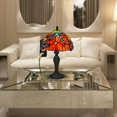 £63 • Buy Tiffany L Dragonfly Style 10 Inch Hand Crafted Glass Table /Desk / Bedside Lamps