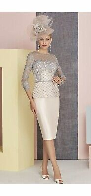 £150 • Buy Veni Infantino Mother Of The Bride/Groom Blush/Grey Dress And Hat Size 10 12