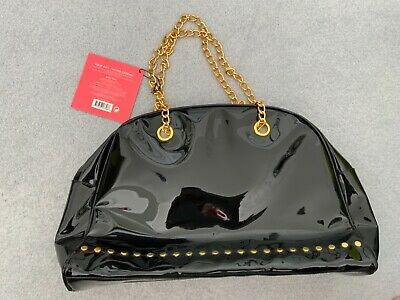 £11.90 • Buy Black Patent Bag With Chain Handles Bnwt